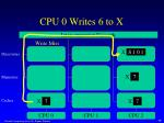 cpu 0 writes 6 to x