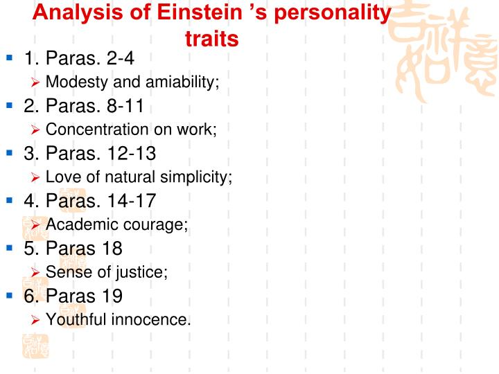 Analysis of Einstein 's personality traits
