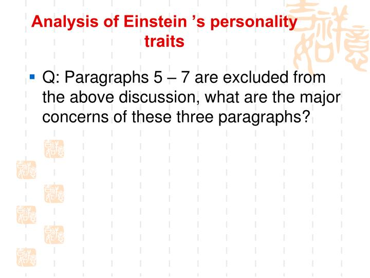 Analysis of Einstein 's personality traits
