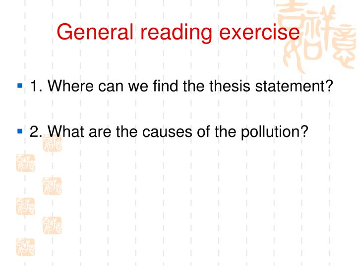 General reading exercise
