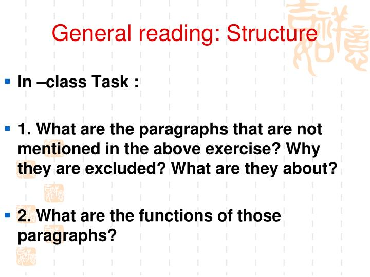 General reading: Structure