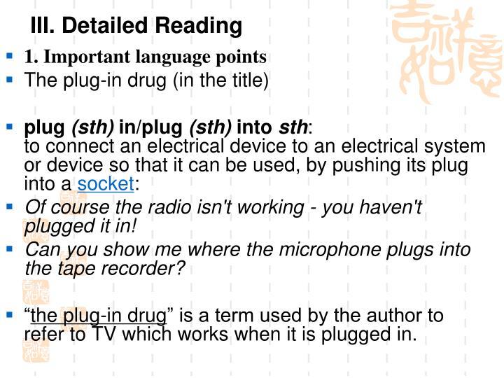 III. Detailed Reading