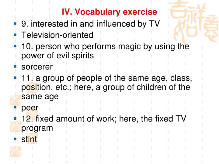 IV. Vocabulary exercise