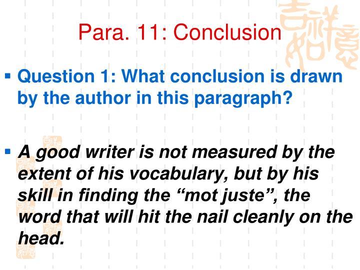 Para. 11: Conclusion