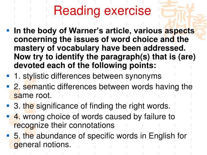 Reading exercise
