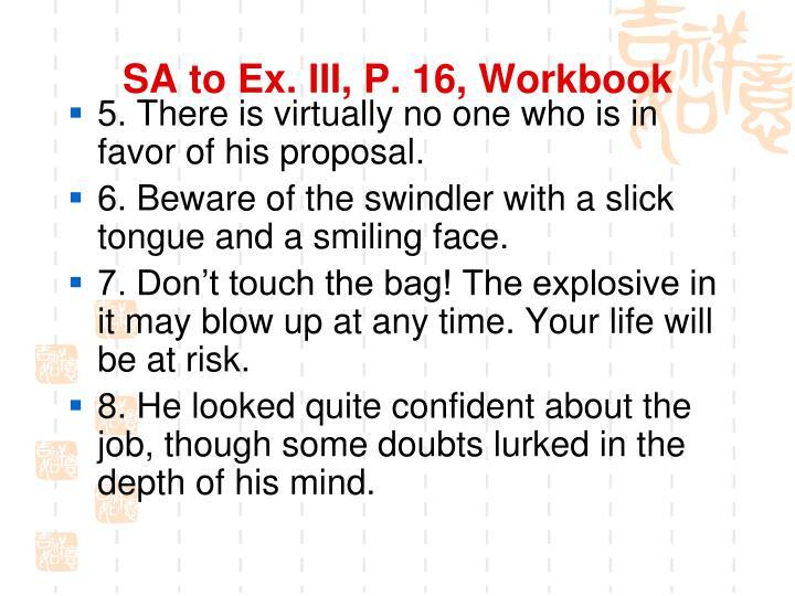 SA to Ex. III, P. 16, Workbook