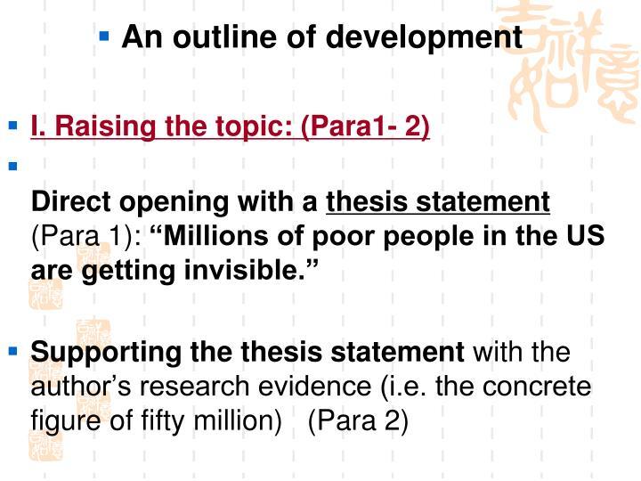 An outline of development