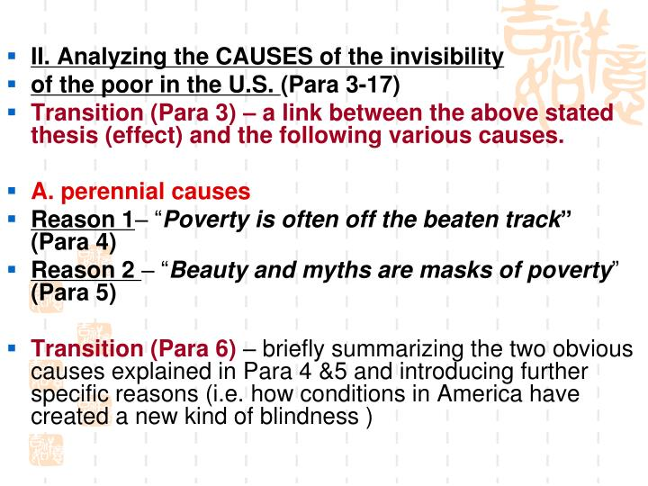 II. Analyzing the CAUSES of the invisibility