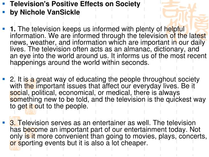 Television's Positive Effects on Society