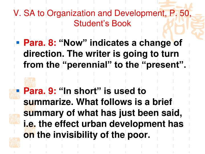 V. SA to Organization and Development, P. 50, Student's Book