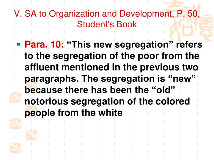V. SA to Organization and Development, P. 50, Student's Book