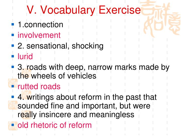 V. Vocabulary Exercise