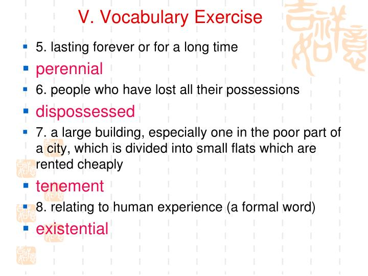 V. Vocabulary Exercise