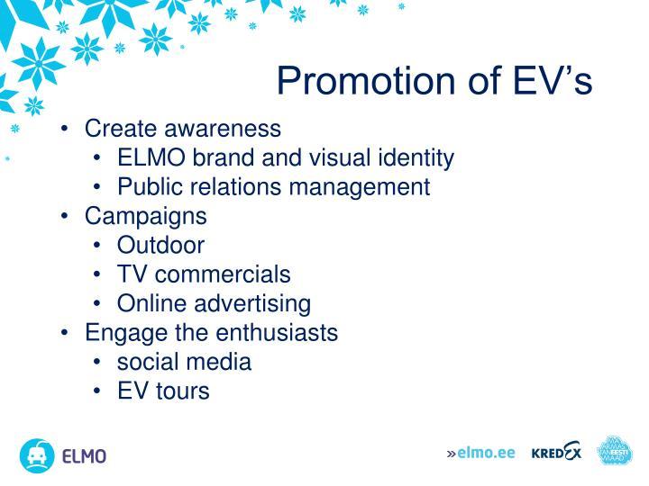 Promotion of EV's