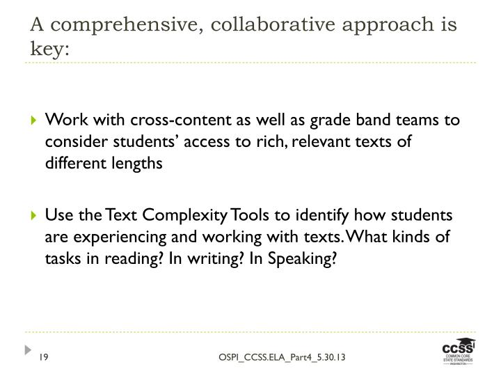 A comprehensive, collaborative approach is key:
