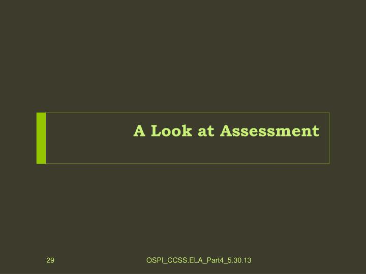 A Look at Assessment