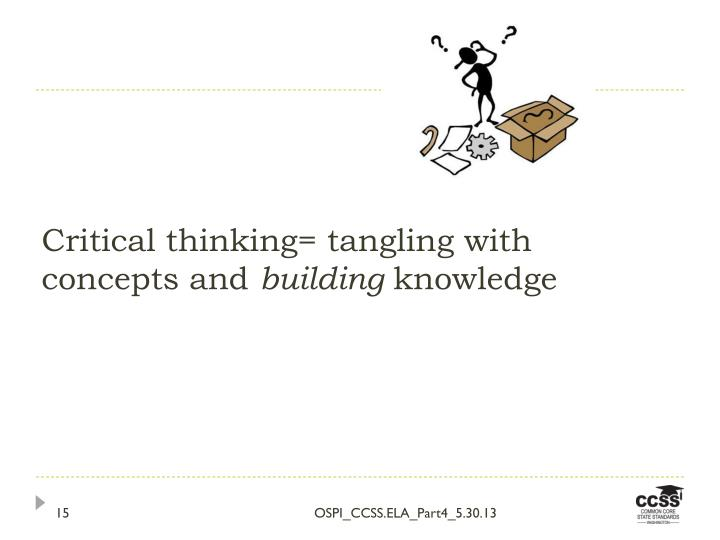 Critical thinking= tangling with concepts and