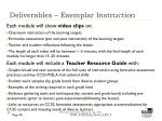 deliverables exemplar instruction