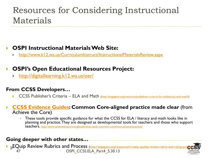 Resources for Considering Instructional Materials