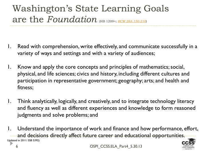 Washington's State Learning Goals