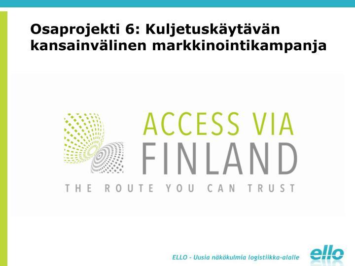 Osaprojekti 6: Kuljetuskäytävän kansainvälinen markkinointikampanja