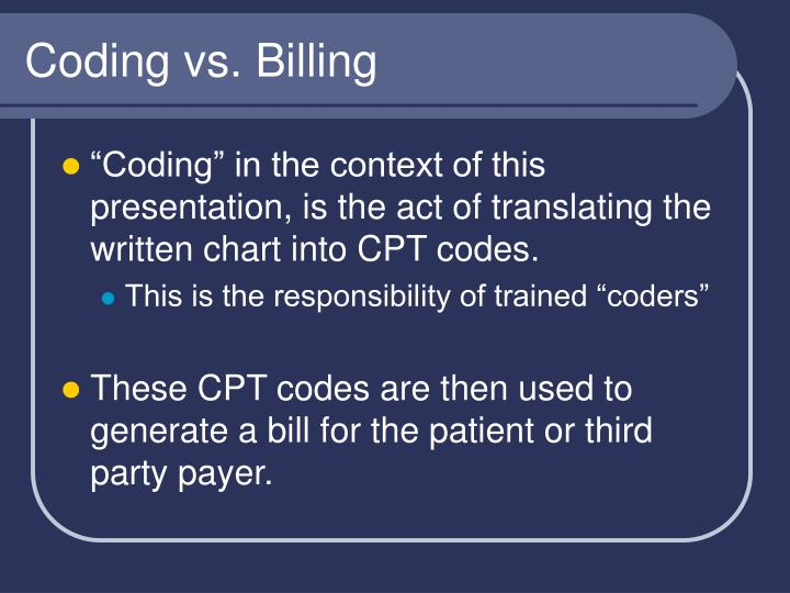 Coding vs. Billing