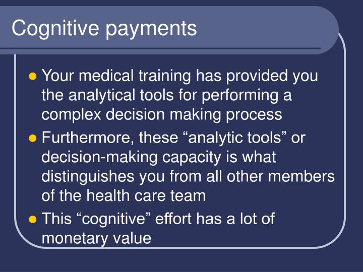 Cognitive payments