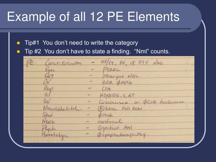 Example of all 12 PE Elements