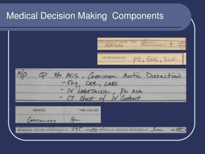Medical Decision Making  Components