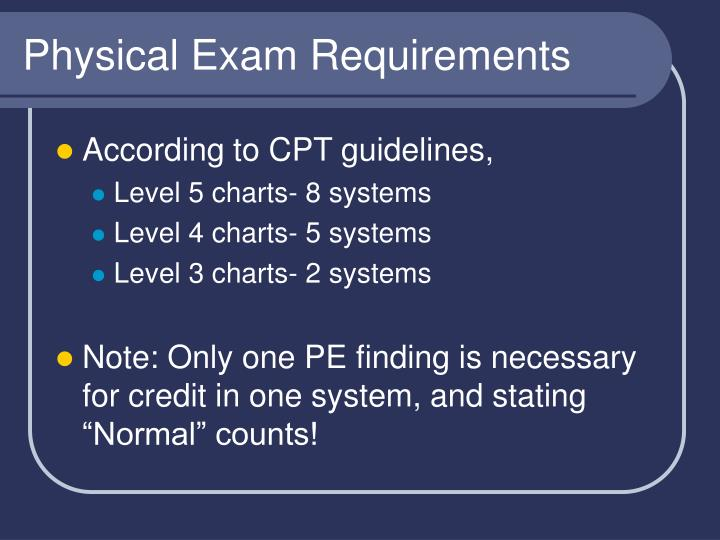 Physical Exam Requirements