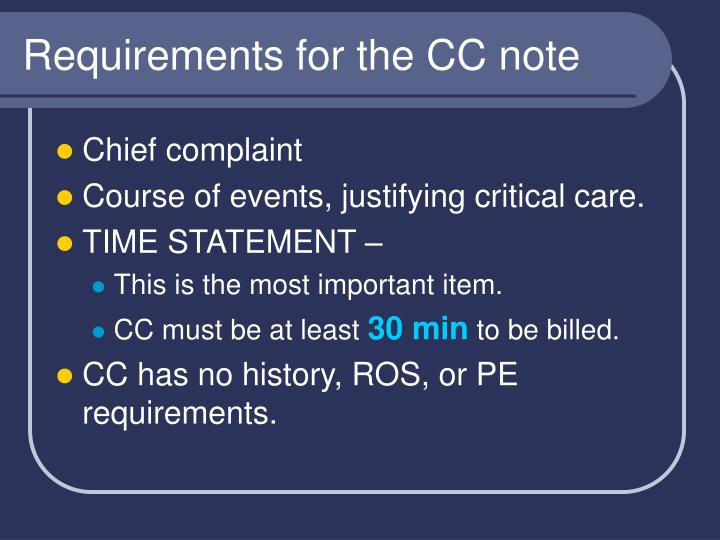 Requirements for the CC note