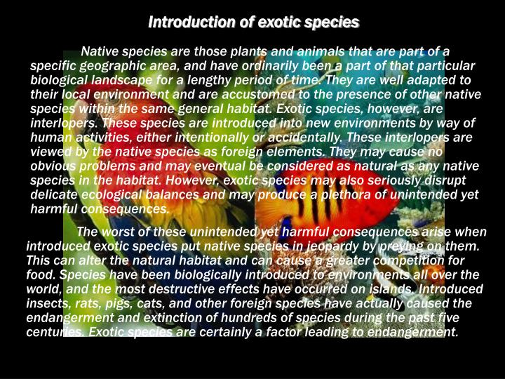 Introduction of exotic species