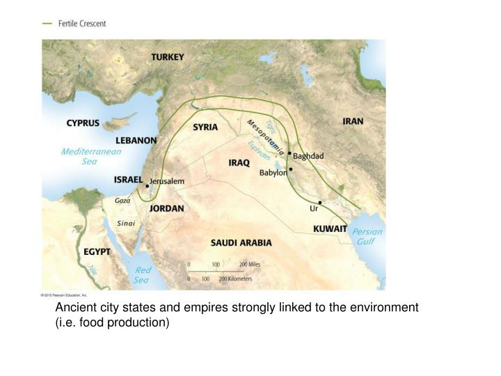 Ancient city states and empires strongly linked to the environment (i.e. food production)