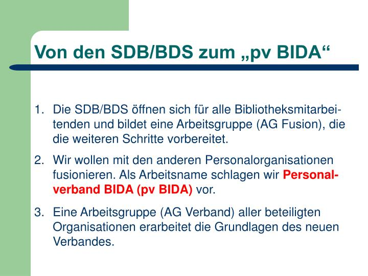 """Von den SDB/BDS zum """"pv BIDA"""""""