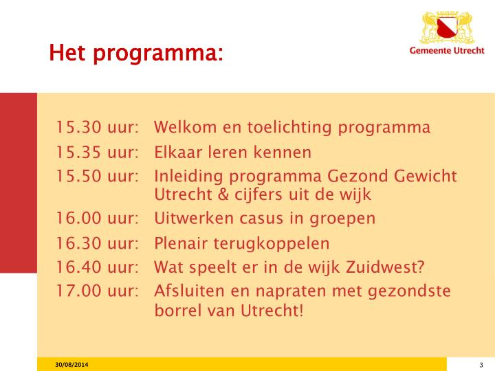Het programma: