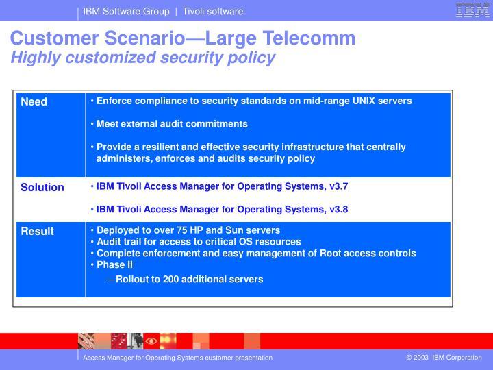 Customer Scenario—Large Telecomm