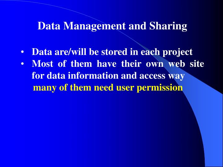 Data Management and Sharing