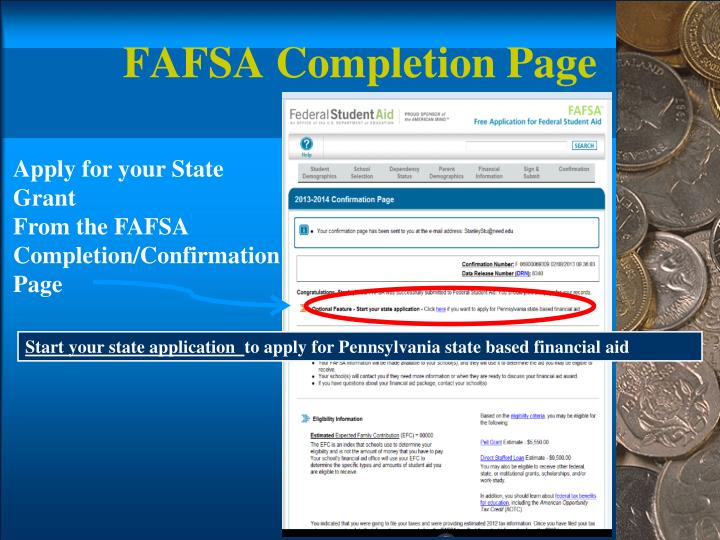 FAFSA Completion Page