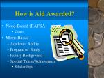 how is aid awarded