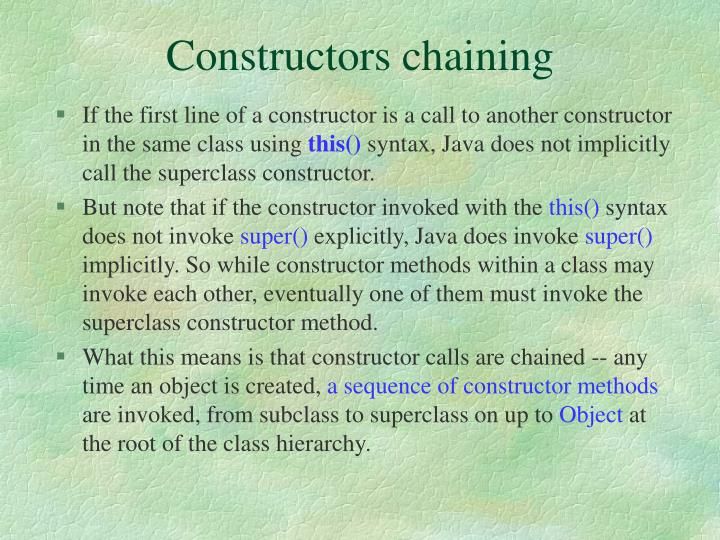Constructors chaining
