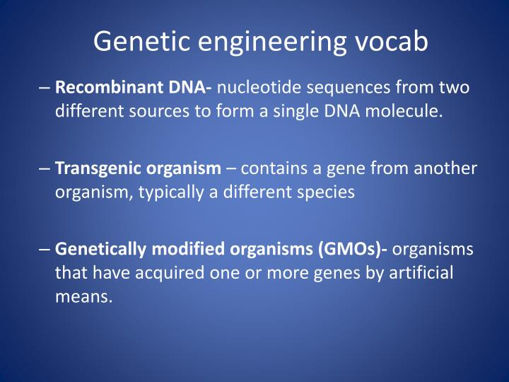 Genetic engineering vocab
