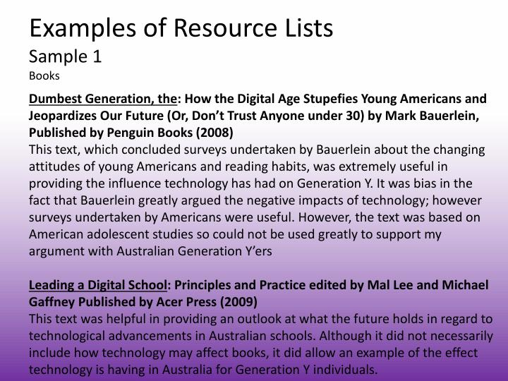 Examples of resource lists sample 1 books