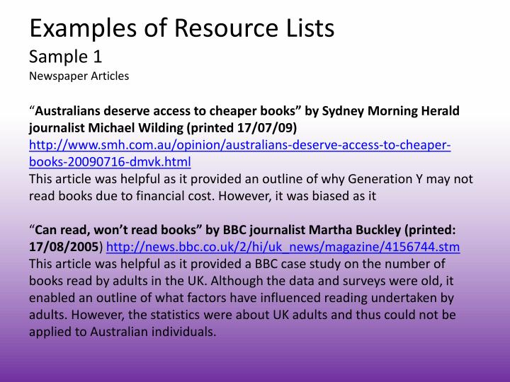 Examples of Resource Lists