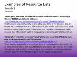 examples of resource lists sample 1 transcripts