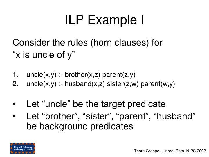 ILP Example I