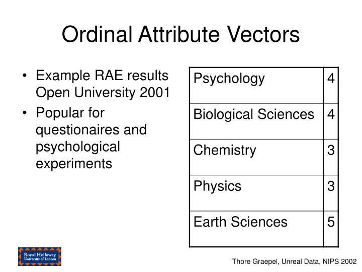 Ordinal Attribute Vectors