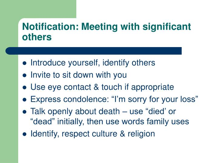 Notification: Meeting with significant others