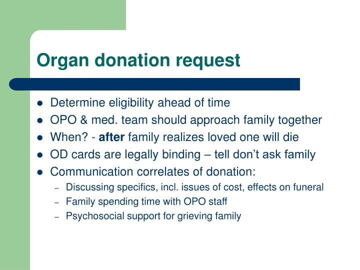 Organ donation request