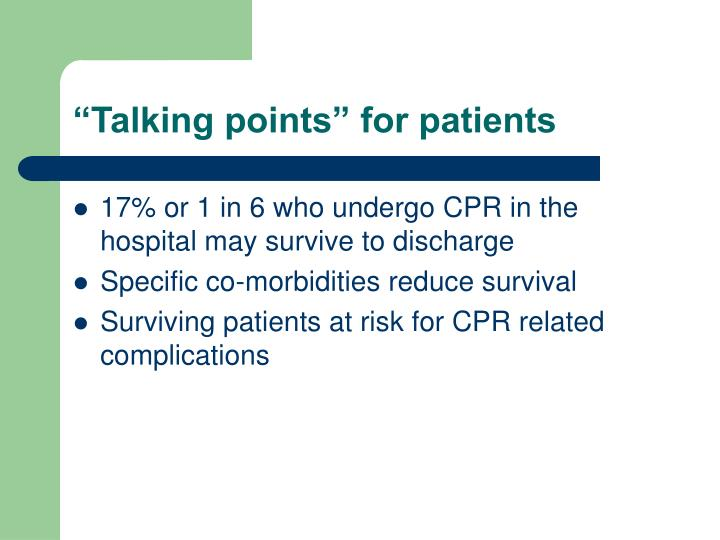 """Talking points"" for patients"