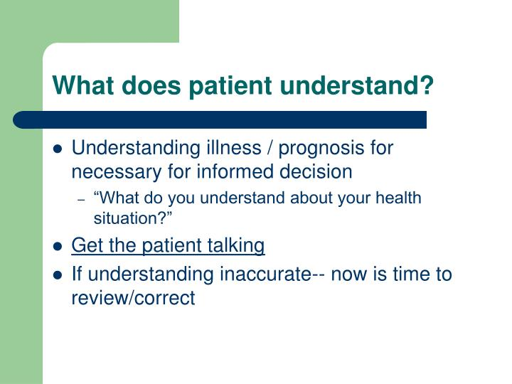 What does patient understand?